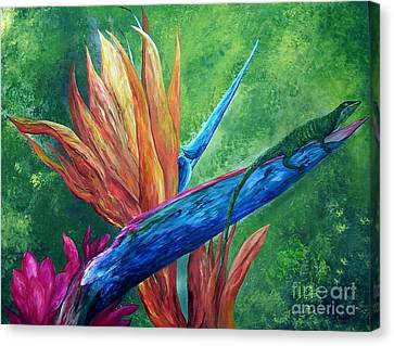Canvas Print featuring the painting Lizard On Bird Of Paradise by Eloise Schneider