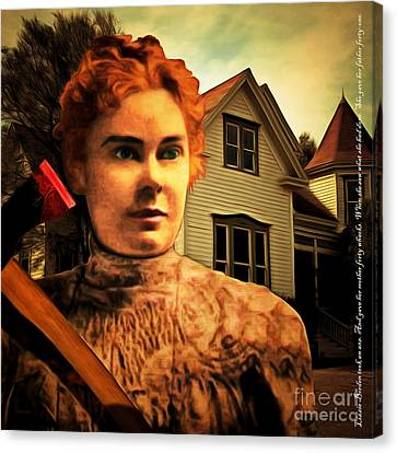 Lizzie Borden Took An Ax 20141226 Square With Text Canvas Print by Wingsdomain Art and Photography