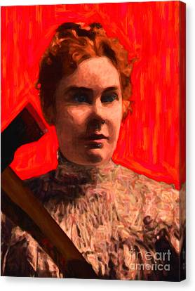 Lizzie Bordon Took An Ax - Painterly - Red Canvas Print by Wingsdomain Art and Photography
