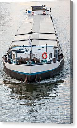 Loaded Barge Plying Inland Waterway Channel Canvas Print by Stephan Pietzko