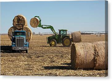Loading Bales Of Hay Canvas Print