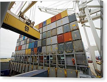 Workers Canvas Print - Loading Cargo Containers by Jim West