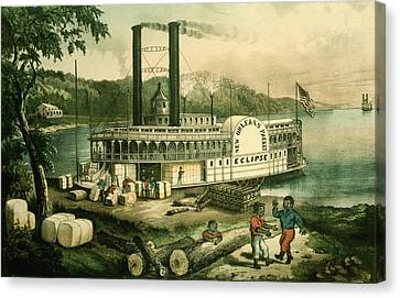 Bales Canvas Print - Loading Cotton On The Mississippi, 1870 Colour Litho by N. Currier