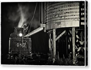 Canvas Print featuring the photograph Loading Water At Chama Train Station by Priscilla Burgers