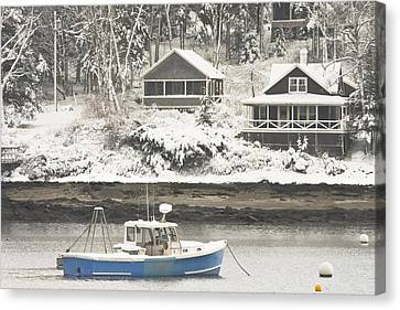 Lobster Boat After Snowstorm In Tenants Harbor Maine Canvas Print
