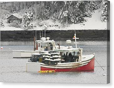 Lobster Boats After Snowstorm In Tenants Harbor Maine Canvas Print