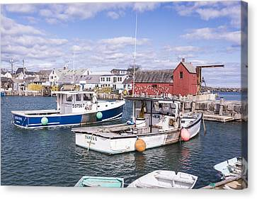 Lobster Boats In Rockport Harbor Canvas Print by Andrew J. Martinez