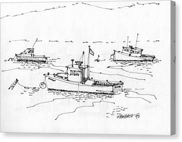 Lobster Boats Monhegan Island 1993 Canvas Print