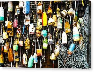 Lobster Buoys And Fishing Net Canvas Print by Thomas R Fletcher