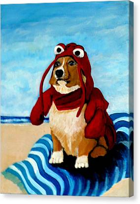 Lobster Corgi On The Beach Canvas Print