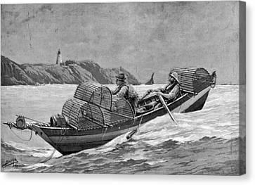 Lobster Fishing, 1894 Canvas Print