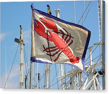 Lobster Flag At The Point Canvas Print by Mary Carol Williams