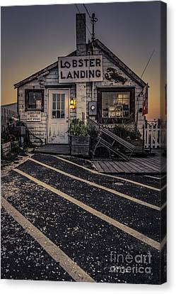Lobster Landing Shack Restaurant At Sunset Canvas Print by Edward Fielding
