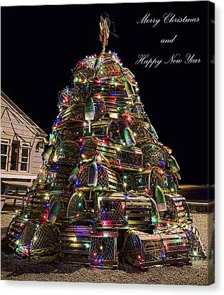 Canvas Print featuring the photograph Lobster Trap Christmas Tree Card by Richard Bean