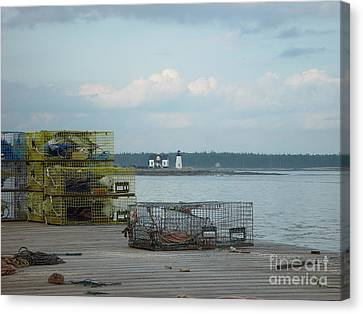 Lobster Traps At Prospect Harbor Wharf Canvas Print by Christopher Mace