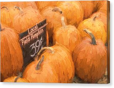 Farm Stand Canvas Print - Local Field Pumpkins Painterly Effect by Carol Leigh