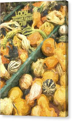 Farm Stand Canvas Print - Local Glazed Gourds Painterly Effect by Carol Leigh