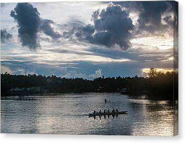 Local People Training For The Rowing Canvas Print by Michael Runkel