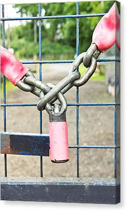 Separation Canvas Print - Lock And Chain by Tom Gowanlock