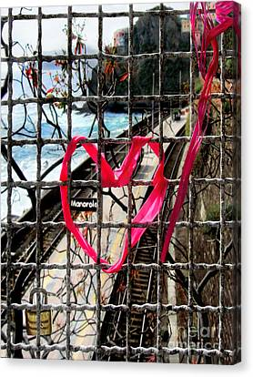 Canvas Print featuring the photograph Lock And Love.cinque Terre.italy by Jennie Breeze