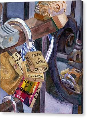 Canvas Print featuring the painting Locks Of Luck by Lynne Reichhart