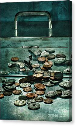 Locked Silver Box With Coins Canvas Print
