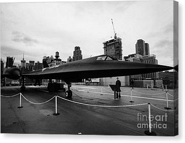 Lockheed A12 Blackbird On Display On The Flight Deck At The Intrepid Sea Air Space Museum Canvas Print by Joe Fox