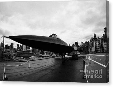 Lockheed A12 Blackbird On The Flight Deck Of The Uss Intrepid At The Intrepid Sea Air Space Museum Canvas Print by Joe Fox