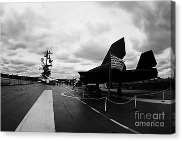 Lockheed A12 Blackbird On The Flight Deck Of The Uss Intrepid Canvas Print