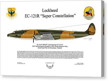 Lockheed Ec-121r 553rs Korat Rtafb Canvas Print by Arthur Eggers