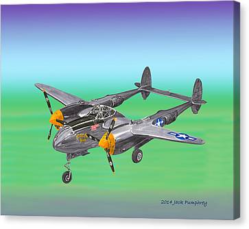 Lockheed P 38 Lightning Canvas Print by Jack Pumphrey