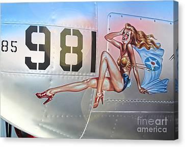 Lockheed P-38l Lightning Honey Bunny Nose Art - 01 Canvas Print by Gregory Dyer