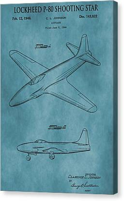 Lockheed P-80 Patent Blue Canvas Print by Dan Sproul