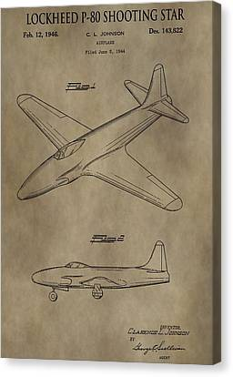 Jet Star Canvas Print - Lockheed P-80 Patent by Dan Sproul