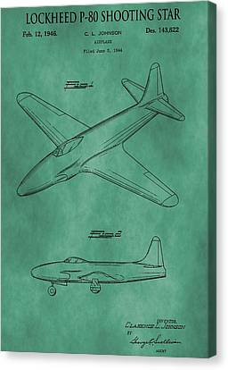 Jet Star Canvas Print - Lockheed P-80 Patent Green by Dan Sproul