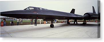 Lockheed Sr-71 Blackbird On A Runway Canvas Print by Panoramic Images