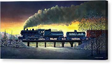 Locomotive In Winter Canvas Print