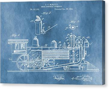 Locomotive Patent On Blue Canvas Print by Dan Sproul