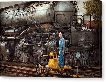 Locomotive - The Gandy Dancer  Canvas Print by Mike Savad