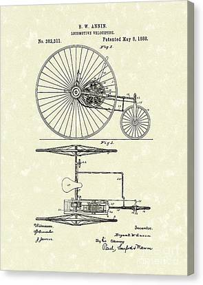 Tricycle Canvas Print - Locomotive Velocipede 1888 Patent Art by Prior Art Design