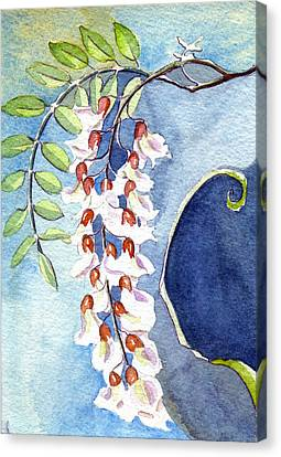 Canvas Print featuring the painting Locust Bloom by Katherine Miller