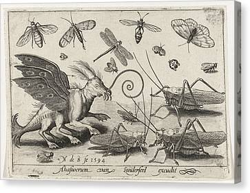 Locusts And Fantasy Creature With Wings And Webbed Canvas Print by Nicolaes De Bruyn