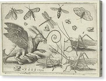 Locusts And Fantasy Creature With Wings, Nicolaes De Bruyn Canvas Print by Nicolaes De Bruyn