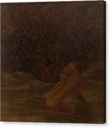 Loewin Und Stier I_lioness And Bull I Canvas Print by Gabriele Frey