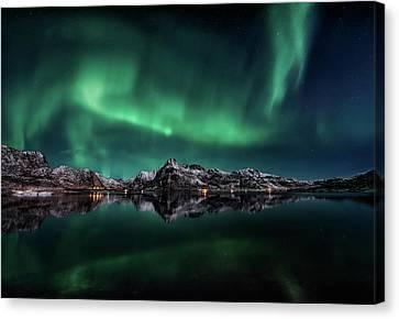 Lofoten Aurora Reflection Canvas Print