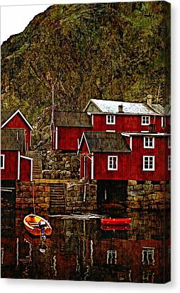 Lofoten Fishing Huts Overlay Version Canvas Print by Steve Harrington