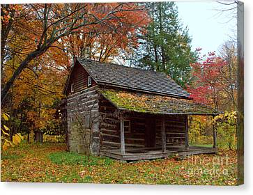 Canvas Print featuring the photograph Log Cabin 1 by Jim McCain