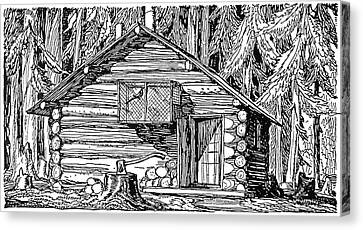 Log Cabin, 20th Century Canvas Print by Granger