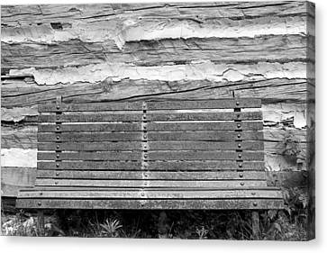 Log Cabin Bench 1 Black And White Canvas Print by Mary Bedy