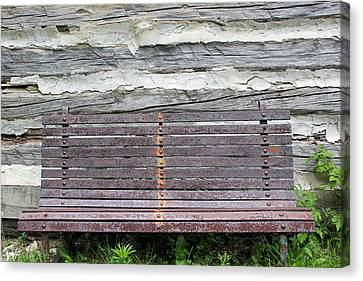 Log Cabin Bench 1 Canvas Print by Mary Bedy